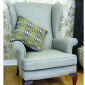 Wing Chair in Moons 100% Pure Wool Herringbone