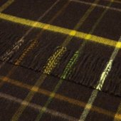 Bronte Chocolate Variegated Windowpane Wool Throw in Chocolate